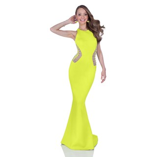 Terani Women's Yellow Neoprene Fitted Halter Gown