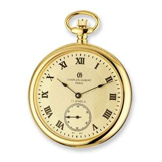 Charles Hubert IP-plated Stainless Steel Men's Open Face Gold Dial Pocket Watch, by Versil