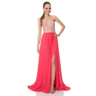 Terani Couture Women's Strapless A-line Long Prom Gown