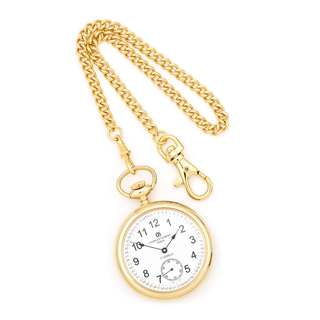Charles Hubert IP-plated Stainless Steel Men's Open Face Pocket Watch, by Versil