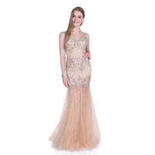 Terani Couture Women's Lace Mesh Trumpet Gown