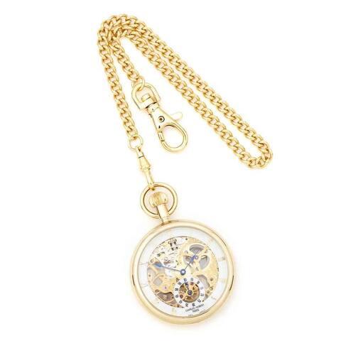 Charles Hubert IP-plated Men's Full Skeleton Dial Pocket Watch by Versil - Golden