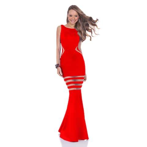 Terani Women's Full Illusion Trumpet Gown