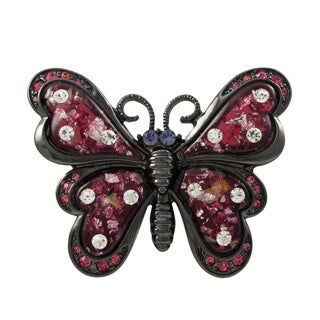 Luxiro Black Finish Pink Crystals Glitter Butterfly Pin Brooch