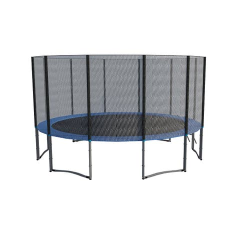 ExacMe Galvanized Steel /PE Mesh 16-foot Trampoline with Safety Pad, Ladder and Enclosure Net