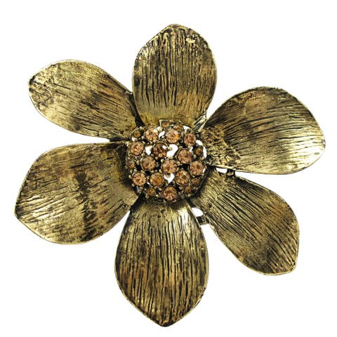 Luxiro Antique Gold-tone Finish Champagne Crystals Flower Pin Brooch - Orange