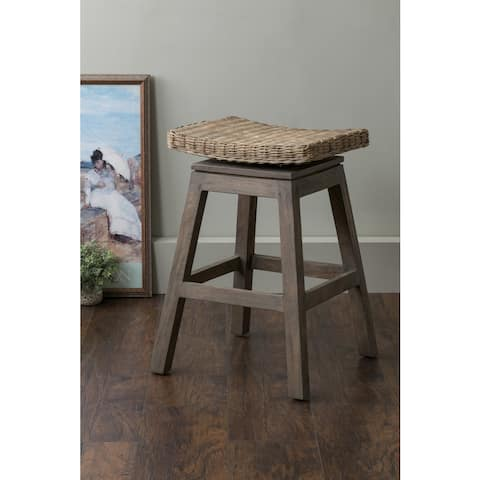East At Main's Canton Brown Square Rattan Counter Stool