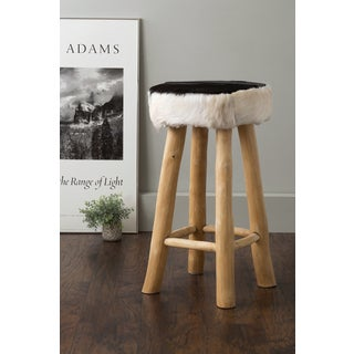 East At Main's Canton Black Round Natural Hide Barstool