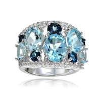 Glitzy Rocks Sterling Silver London Blue, Blue and White Topaz Tonal Dome Ring