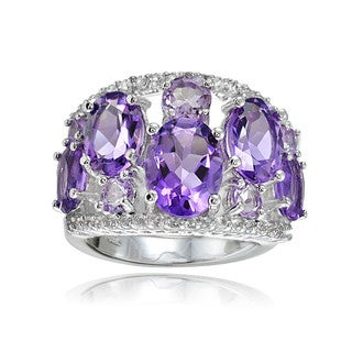 Glitzy Rocks Sterling Silver African Amethyst, Amethyst and White Topaz Tonal Dome Ring