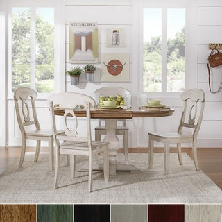 Eleanor Antique White Solid Wood Oval Table w Napoleon Back 5-piece Dining Set by iNSPIRE Q Classic
