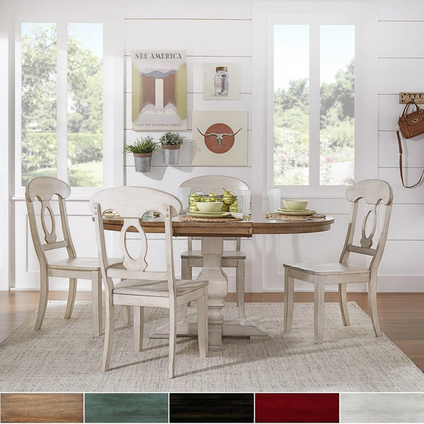 eleanor antique white solid wood oval table napoleon back 5 piece dining set by tribecca home. Black Bedroom Furniture Sets. Home Design Ideas
