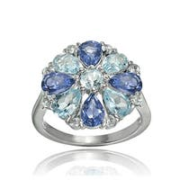 Glitzy Rocks Sterling Silver Tanzanite, Aquamarine and White Topaz Flower Ring