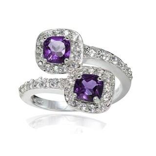 Glitzy Rocks Sterling Silver African Amethyst and White Topaz Cushion-cut Friendship Ring