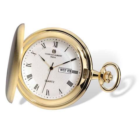 Charles Hubert Gold Finish Men Satin White Dial Day/Date Pocket Watch by Versil - Gold-tone