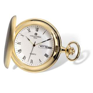 Charles Hubert Gold Finish Men's Satin White Dial Day/Date Pocket Watch