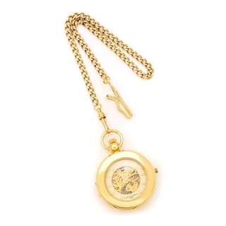 Charles Hubert Gold Finish Men's Brass 2-Photo Insert Pocket Watch