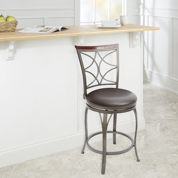 Shop Decorative Back Swivel Steel Wood 24 Inch Barstool With Curved