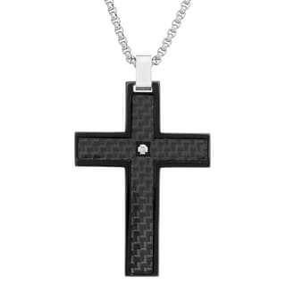 Stainless Steel and Carbon Fiber Diamond Accent Men's Cross Pendant Necklace (H-I, I2-I3)