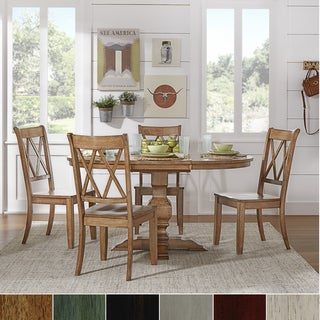 Eleanor Oak Solid Wood Oval Table 5-Piece Dining Set - Double X Back by TRIBECCA HOME