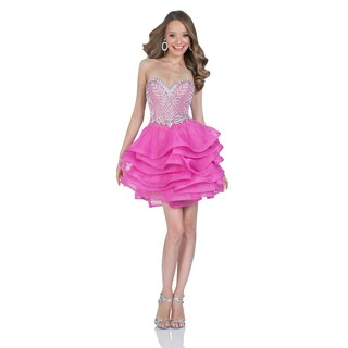 Terani Couture Women's Pink Beaded and Ruffled Short Sweetheart Party Dress