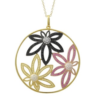 Luxiro Tri Color Gold Finish Cubic Zirconia Flower Large Circle Pendant Necklace Black