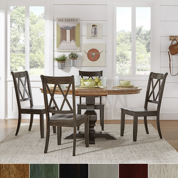 Shop Eleanor Solid Wood Oval Table And X Back Chairs 5