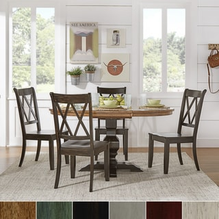 Eleanor Oak and Black Solid Wood Oval Table 5-Piece Dining Set - Double X Back by TRIBECCA HOME