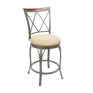 Hammered Bronze and Faux Leather 24-inch Diamond-back Swivel Barstool With Curved Legs