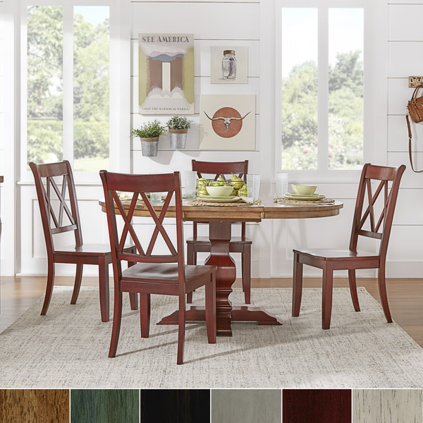 Eleanor Berry Red Solid Wood Oval Table And X Back Chairs 5 Piece Dining Set