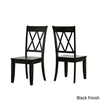 Eleanor Berry Red Solid Wood Oval Table and X Back Chairs 5-piece Dining Set by iNSPIRE Q Classic (Antique Black Chairs)