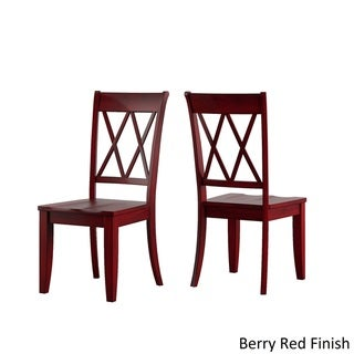 Eleanor Oak and Berry Red Solid Wood Oval Table 5-Piece Dining Set - Double X Back by TRIBECCA HOME