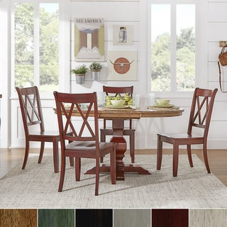 Eleanor Berry Red Solid Wood Oval Table and X Back Chairs 5-piece Dining Set by iNSPIRE Q Classic