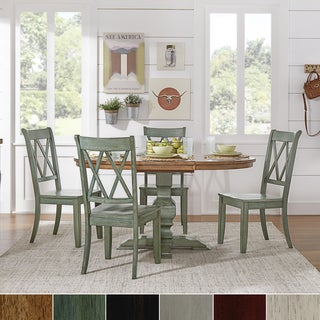 Eleanor Oak and Aqua Solid Wood Oval Table 5-Piece Dining Set - Double X Back by TRIBECCA HOME