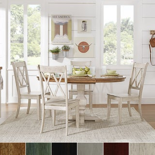 Eleanor Oak and Antique White Solid Wood Oval Table 5-Piece Dining Set - Double X Back by TRIBECCA HOME
