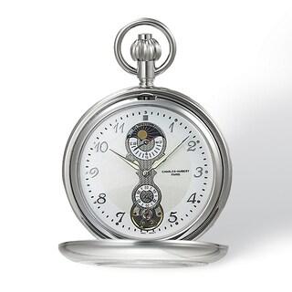 Charles Hubert Chrome-Finish Men's White Dial Pocket Watch