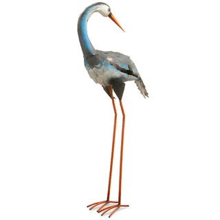 National Tree Company Garden Accents Blue Metal Crane Statue (39 in.)