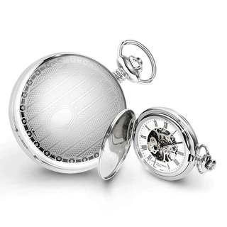 Charles Hubert Chrome-Finish Men's Stripe Design Pocket Watch