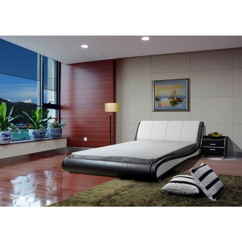 Greatime Black and White Faux Leather Contemporary Platform Bed