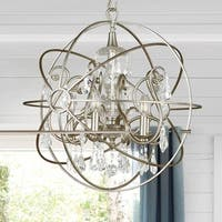 Crystorama Solaris Collection 5-light Olde Silver/Crystal Chandelier