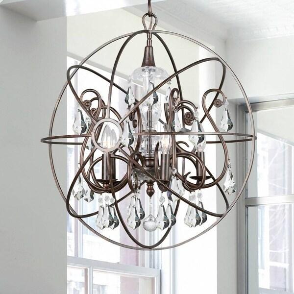 5-light English Bronze/Crystal Chandelier