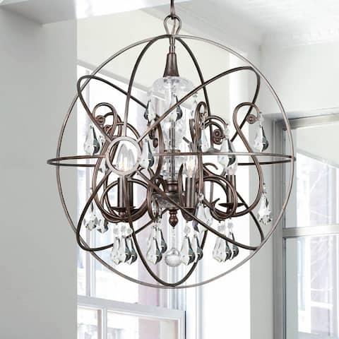 Copper Grove Poltava 5-light English Bronze and Crystal Globe Chandelier
