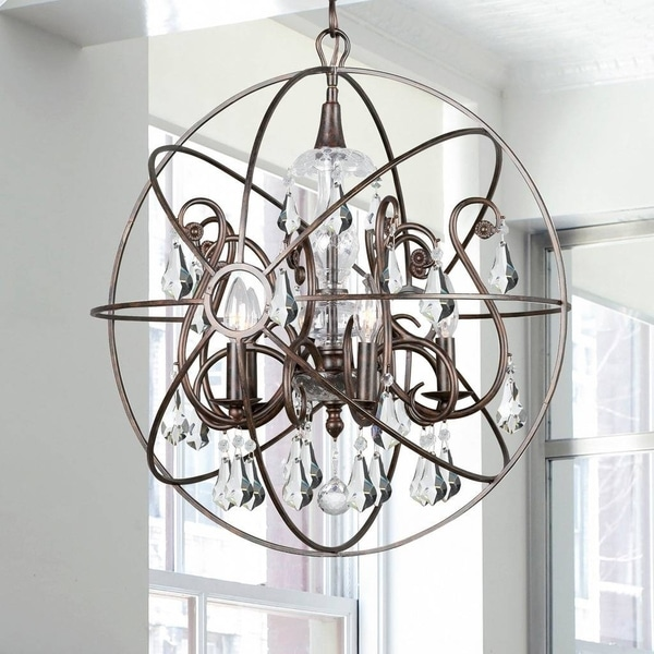 Copper Grove Poltava 5-light English Bronze and Crystal Globe Chandelier. Opens flyout.