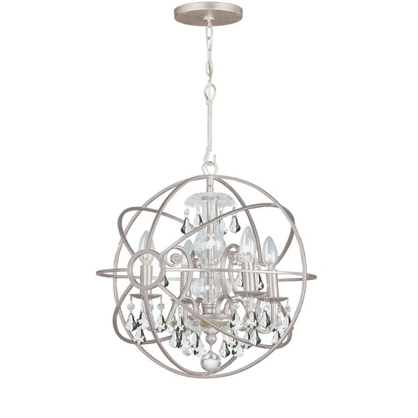 Crystorama Solaris Collection 4-light Olde Silver/Crystal Mini Chandelier - Olde Silver/Crystal