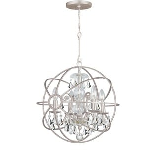 Crystorama Solaris Collection 4-light Olde Silver/Crystal Mini Chandelier