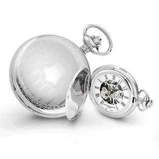 Charles Hubert Chrome-Finish Men's Shield Design Pocket Watch