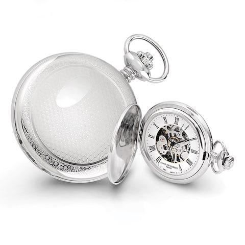 Charles Hubert Chrome-Finish Men's Oval Design Pocket Watch by Versil - White