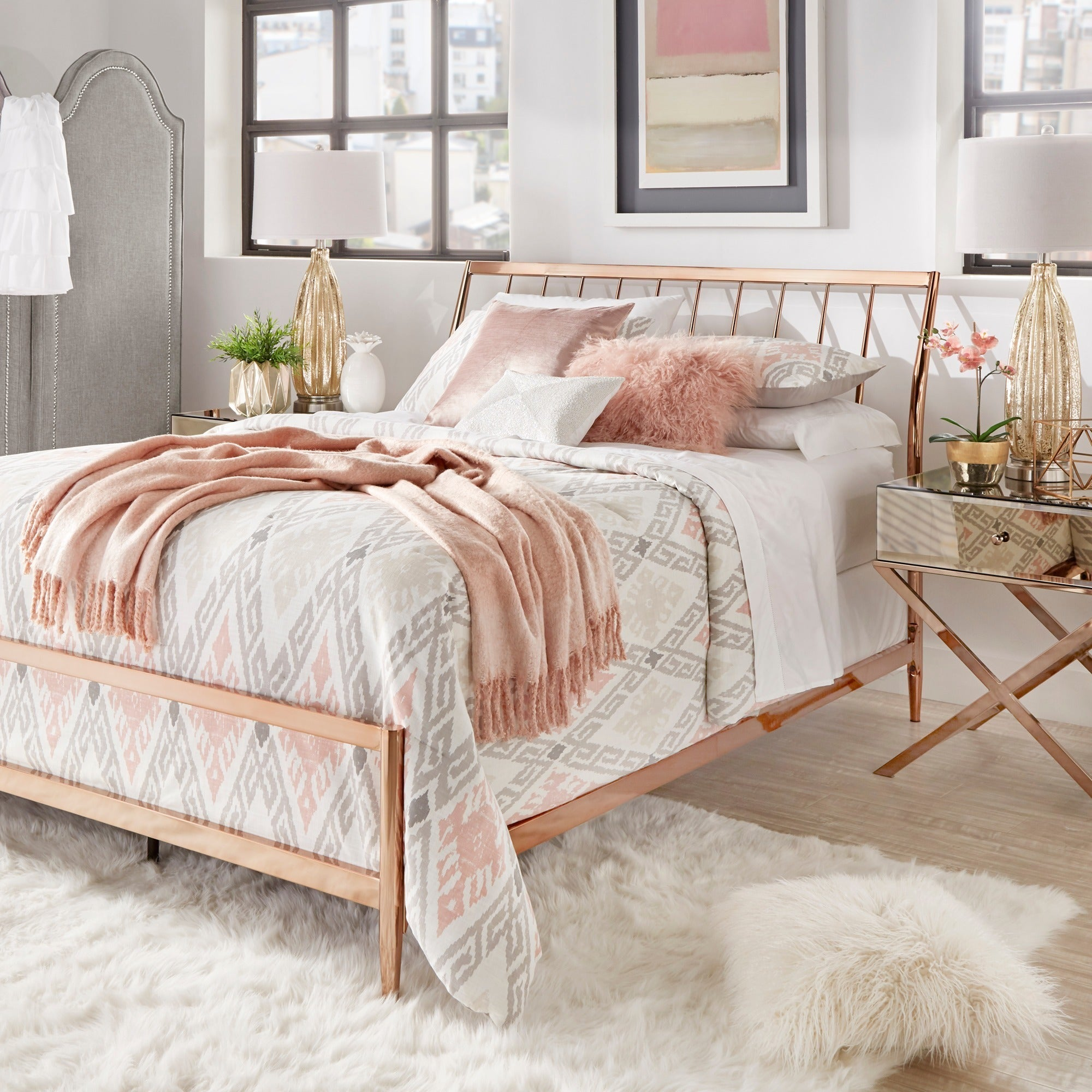 Lincoln Copper Finish Metal Bed by iNSPIRE Q Bold (King S...