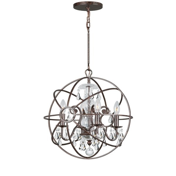 Crystorama Solaris Collection 4-light English Bronze/Crystal Mini Chandelier