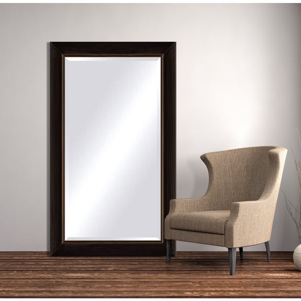 Oversized Black Copper Framed Beveled Mirror - Black/Brown